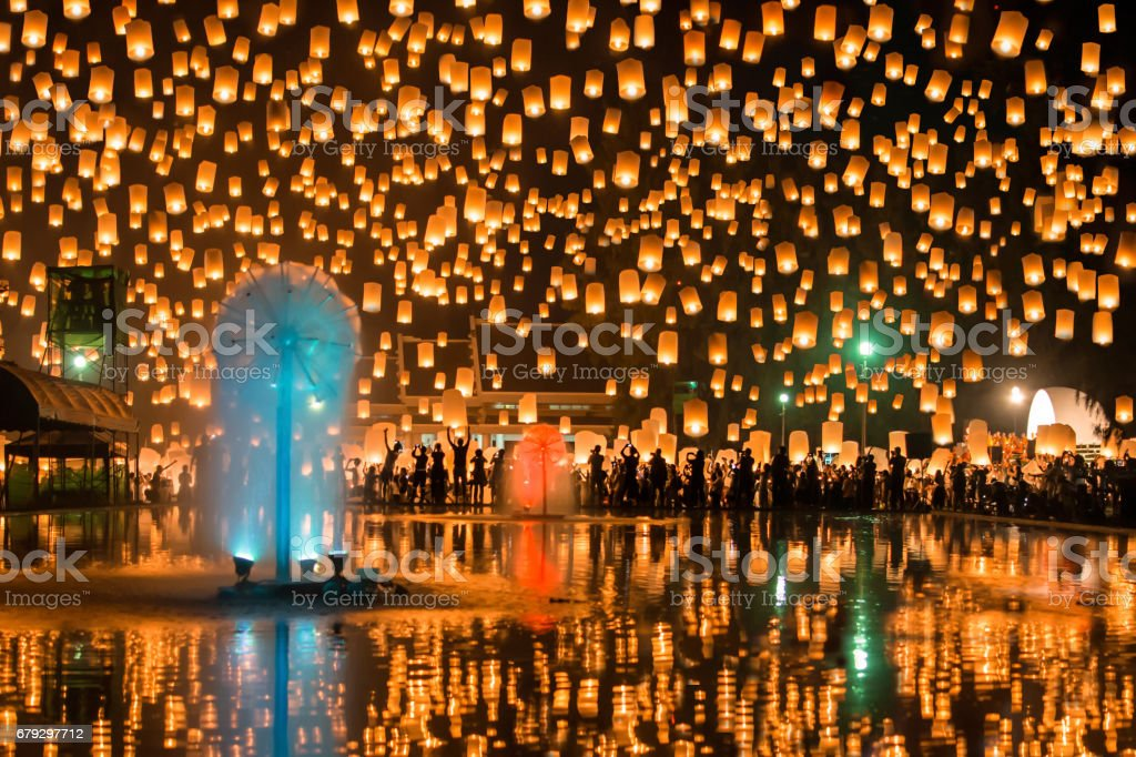 Floating Lanterns festival stock photo