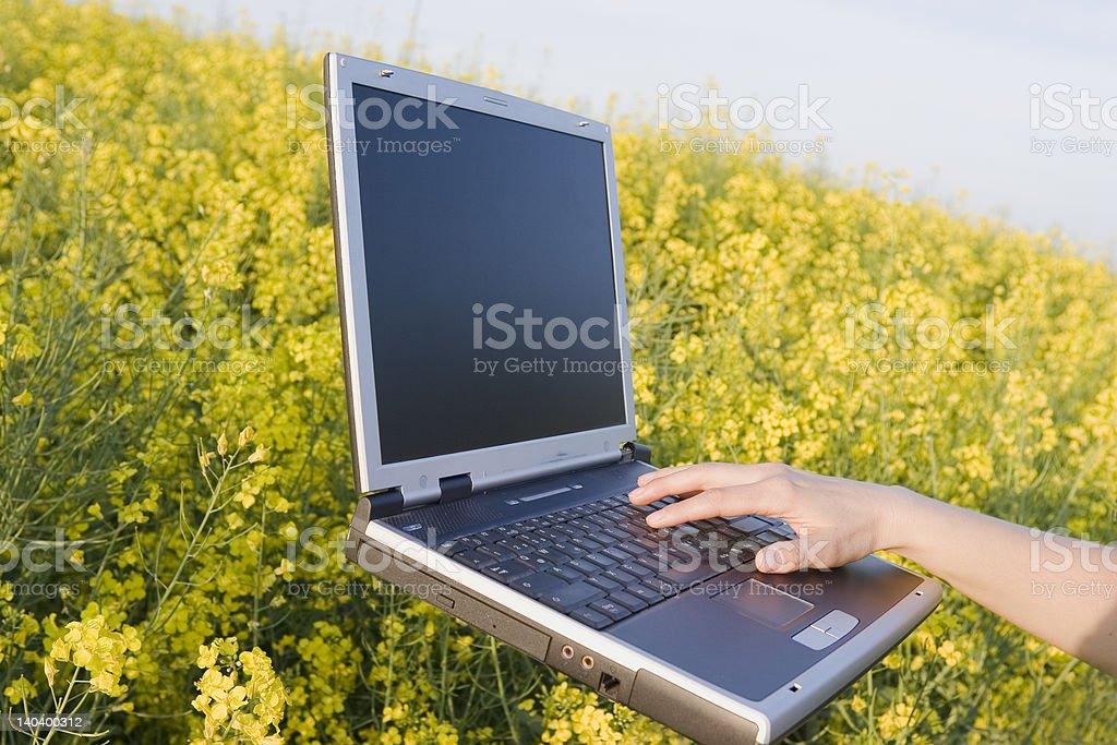 Floating laptop royalty-free stock photo