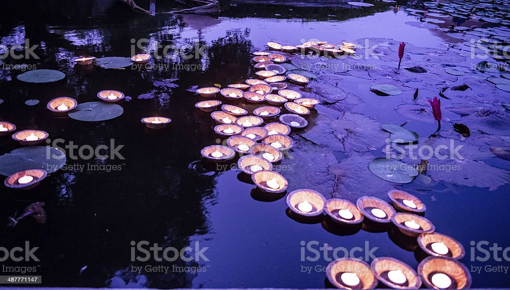 Floating lights on backwater stock photo