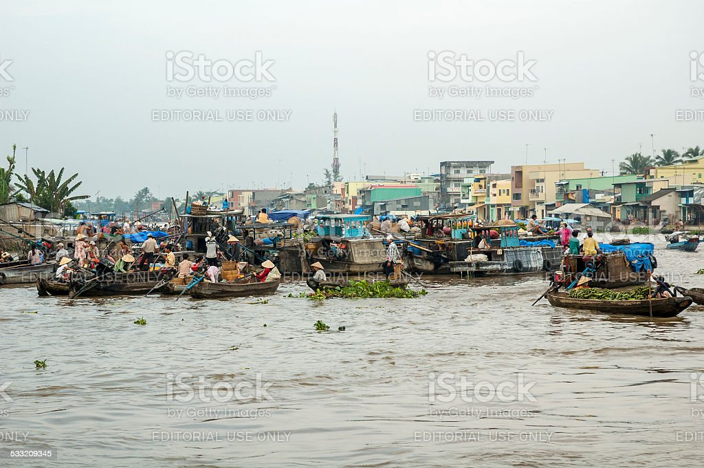 Floating Market At Can Tho In Vietnam stock photo