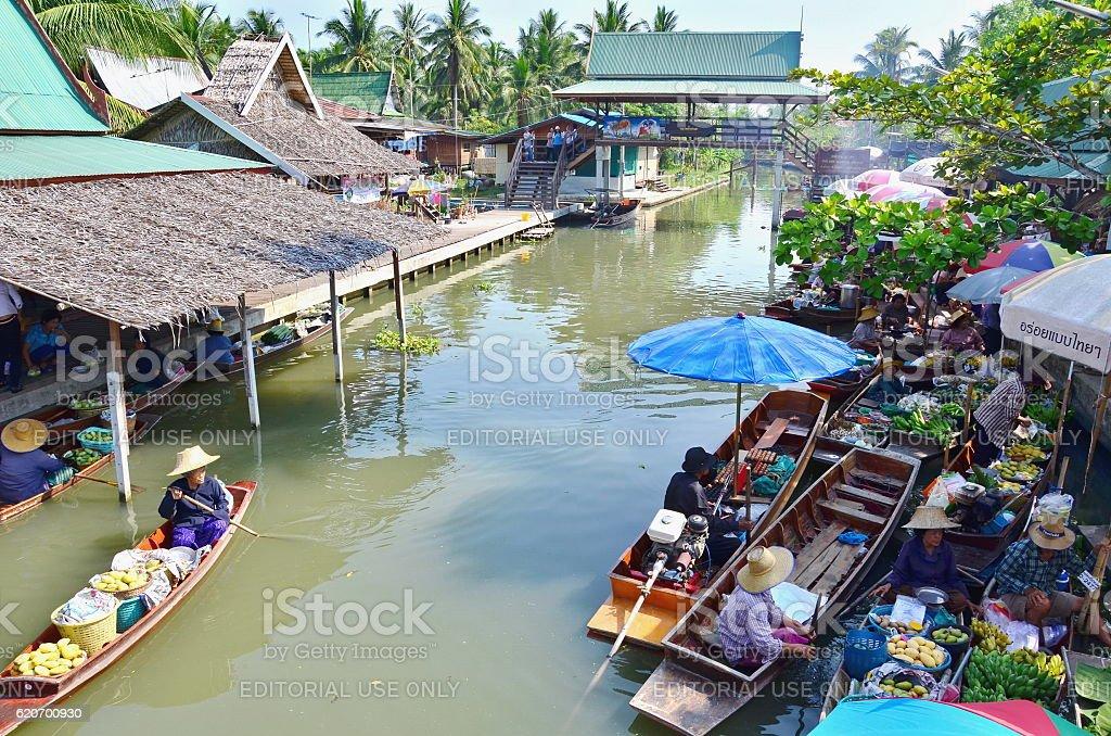 Floating market at night in Amphawa, Samut Songkhram Province stock photo