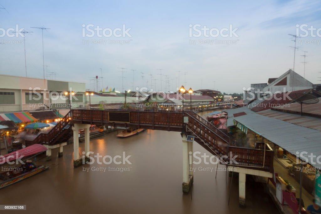 Floating market at night in Amphawa, Samut Songkhram , Thailand. stock photo
