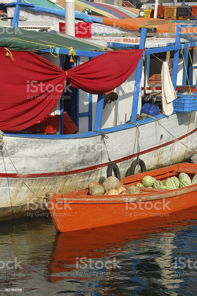 Floating Market, Curacao stock photo