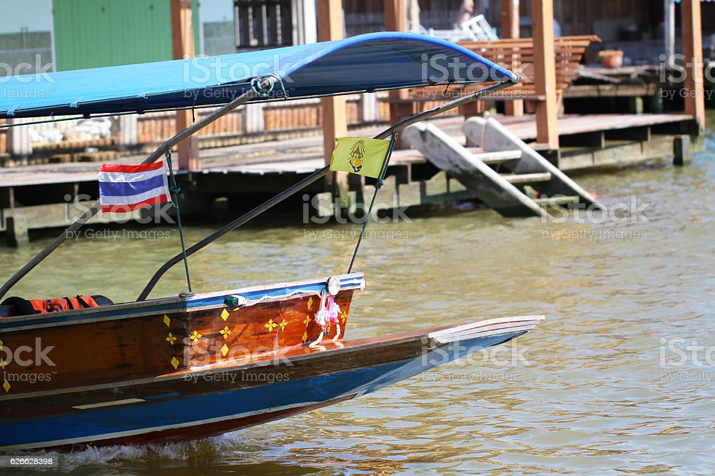 Floating market in Bangkok, tourists boat trip stock photo