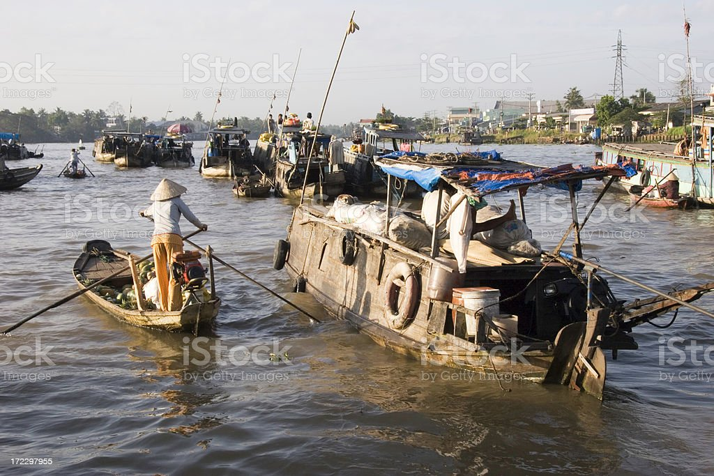 Floating Market in Can Tho stock photo