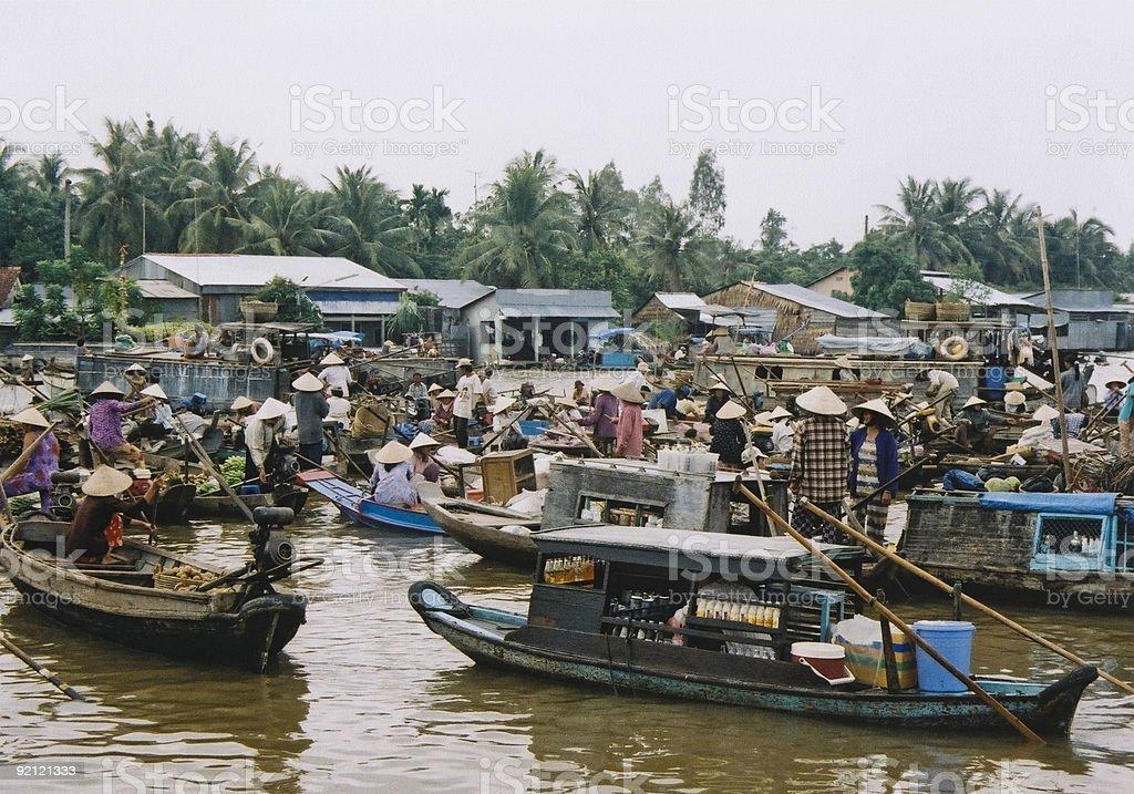floating market mekong river vietnam stock photo