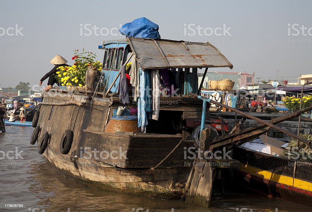 Floating Market on Mekong river royalty-free stock photo