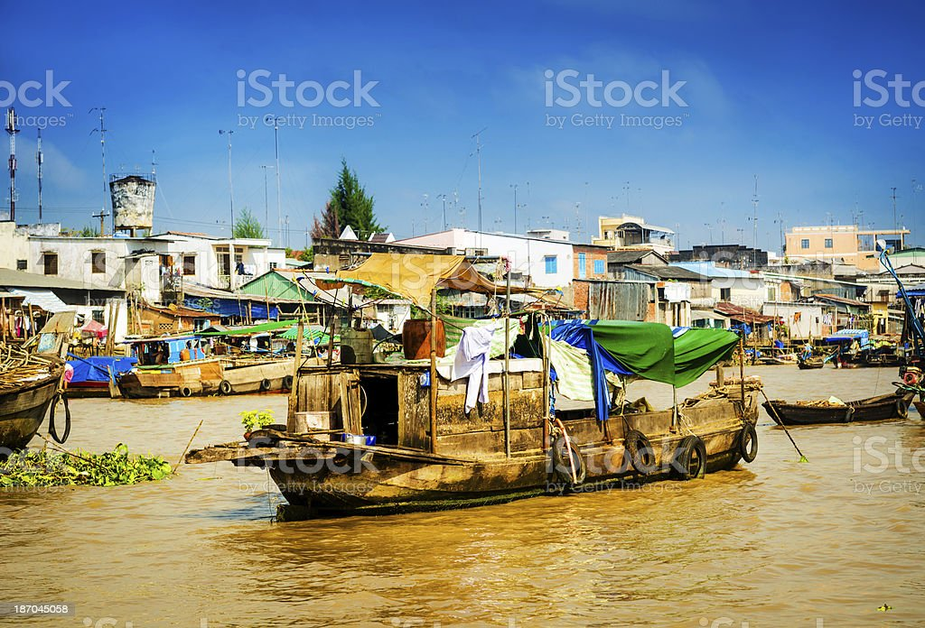 Floating Market on Mekong river stock photo