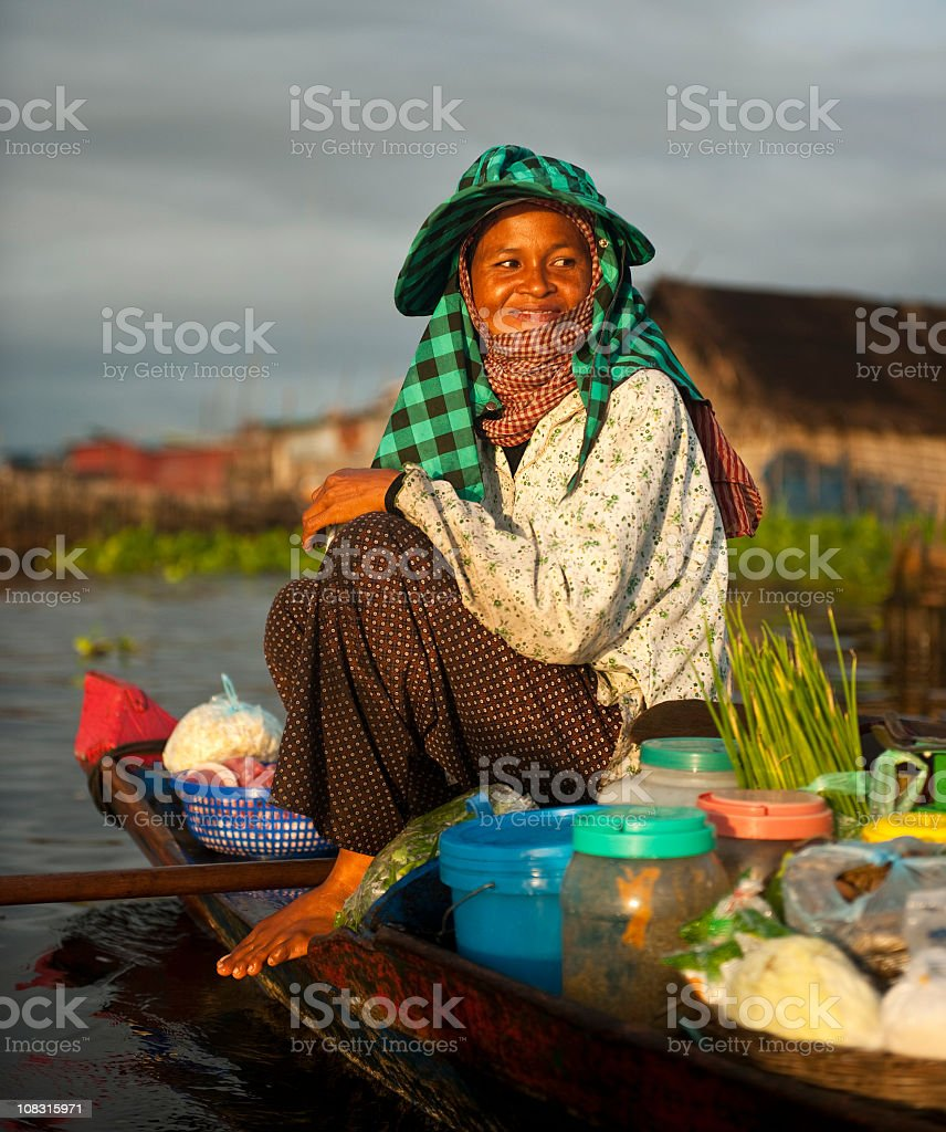 Floating Market Seller stock photo