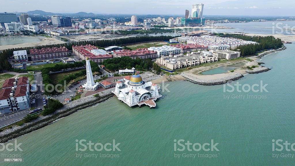 Floating Mosque from 1000 ft stock photo