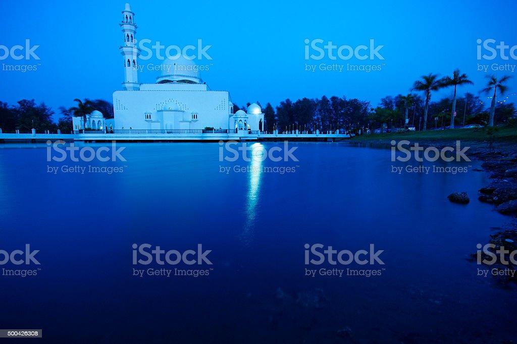 Floating mosque in Kuala Terengganu, Malaysia. stock photo