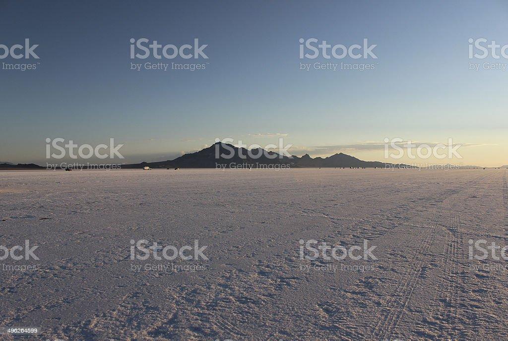 Floating Mountain at Bonneville Salt Flats at Sun-up stock photo