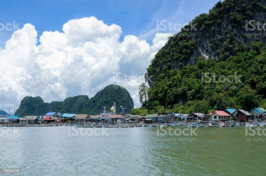 Floating Muslim Village. Koh Panyee Island stock photo