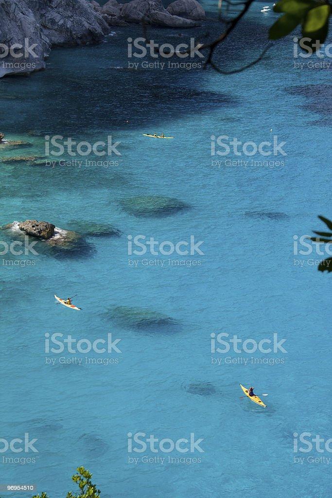 Floating on blue stock photo