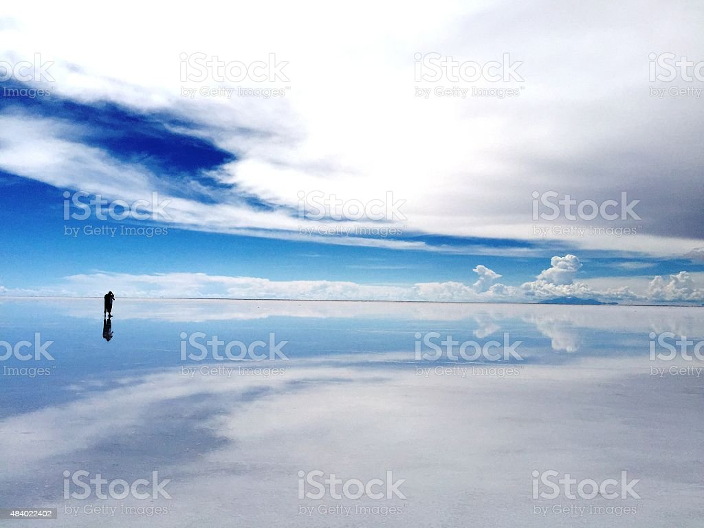 Floating on water, Uyuni Salt Flat stock photo