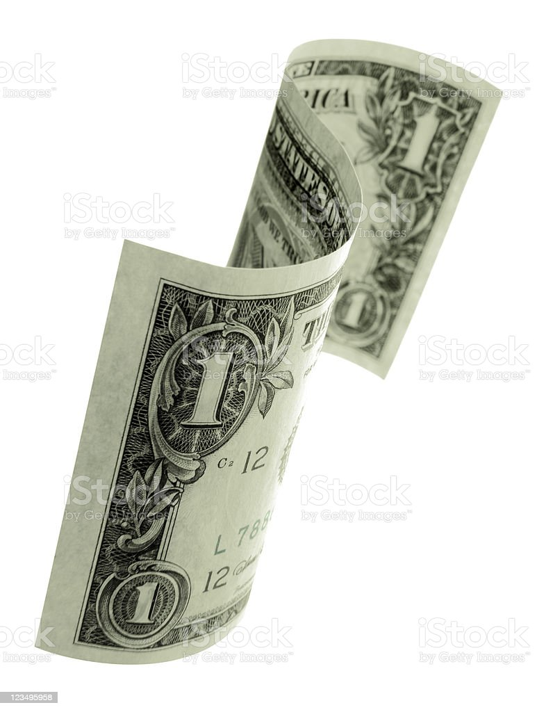 floating one dollar bill stock photo