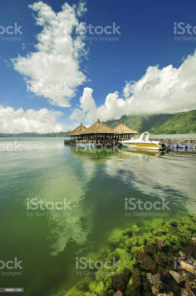 Floating pagoda on a lake stock photo