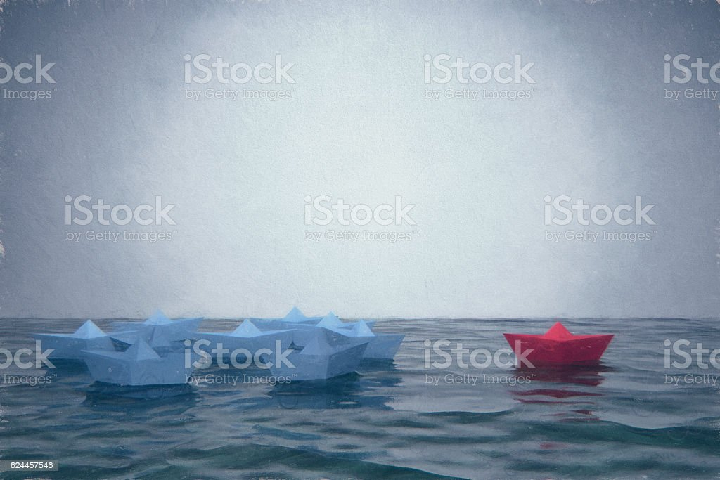 Floating paper boats stock photo