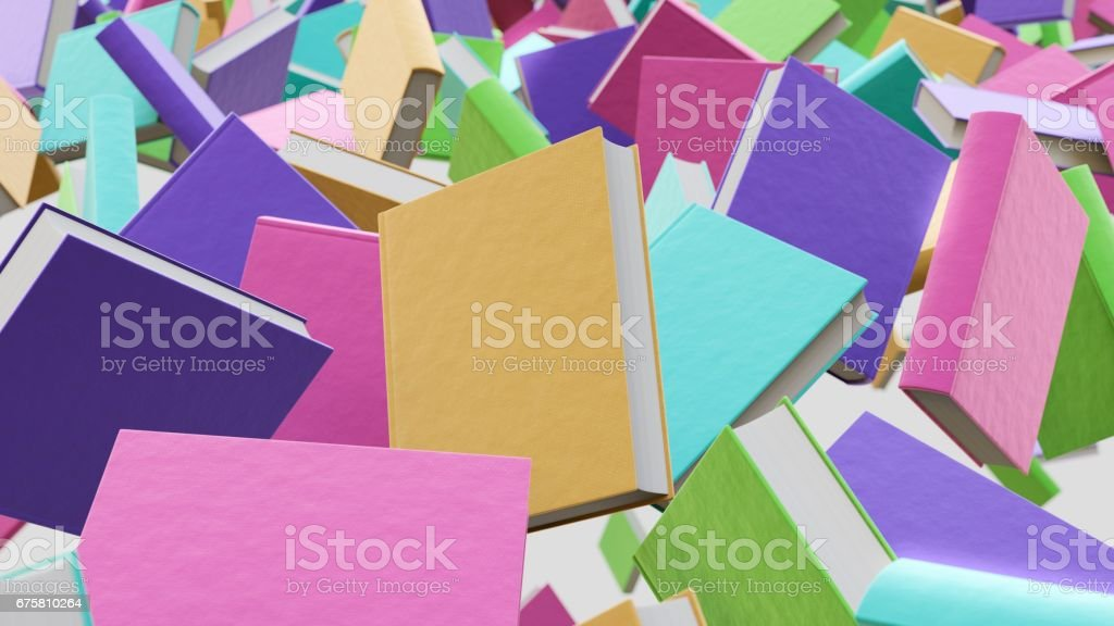 Floating Pastel Colored New Hardcover Books stock photo