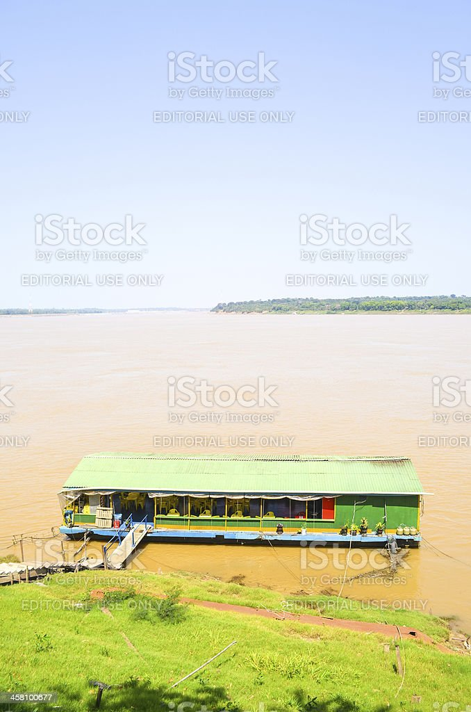 Floating Restaurant at Madeira River - Amazonia region (vertical) stock photo