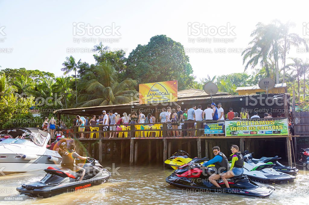 Floating restaurant in the Amazon Region stock photo