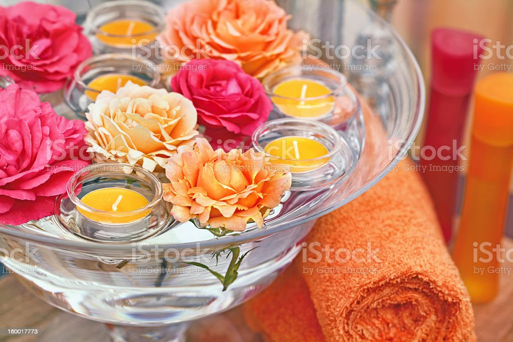 Floating roses and candles stock photo