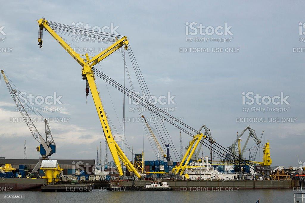 Floating Sheerleg Crane stock photo