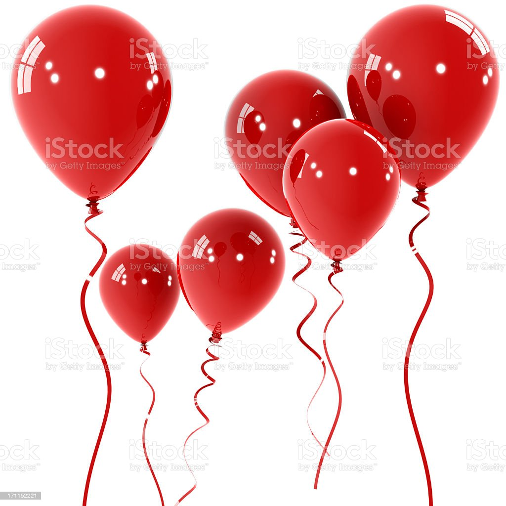 Floating shiny red balloons with red string stock photo