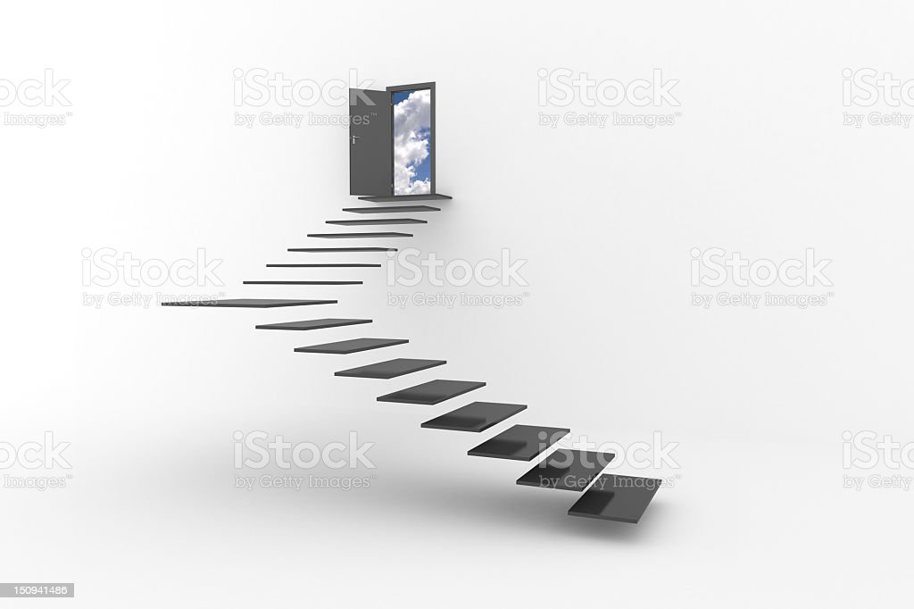 Floating stairs to open door to clouds and sky stock photo