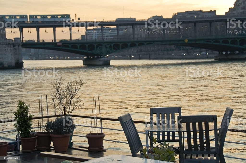 Floating terrasse on river Seine royalty-free stock photo