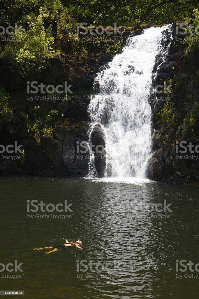 Floating under Waimea Falls stock photo