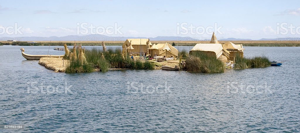 Floating Uros islands on the Titicaca lake stock photo