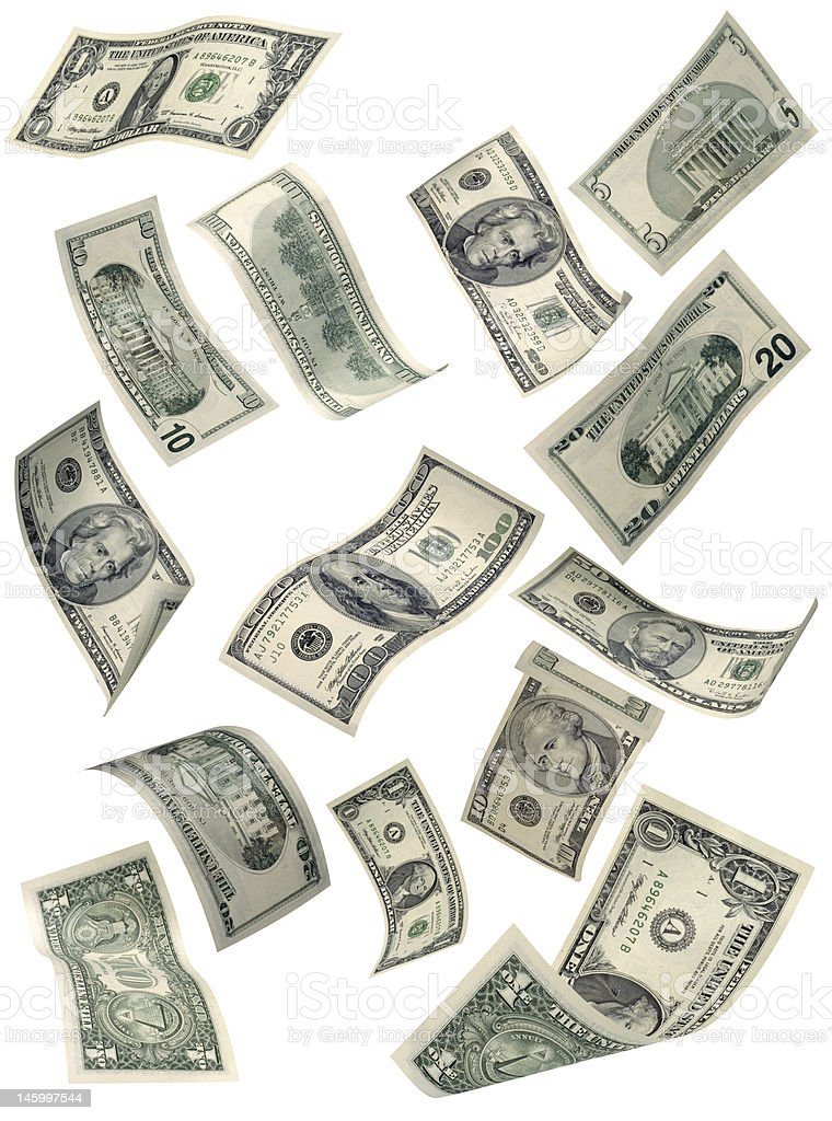 Floating US currency stock photo