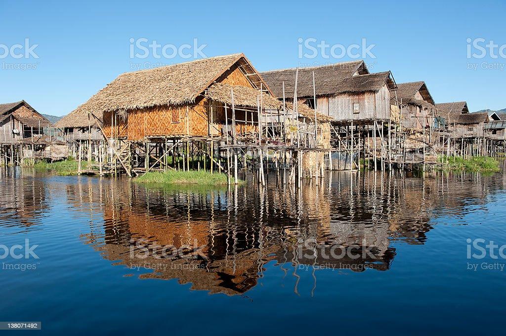 Floating village at Inle Lake, Myanmar stock photo