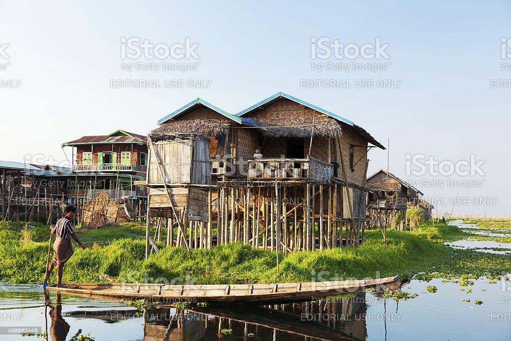 Floating village house in Inle Lake, Myanmar stock photo