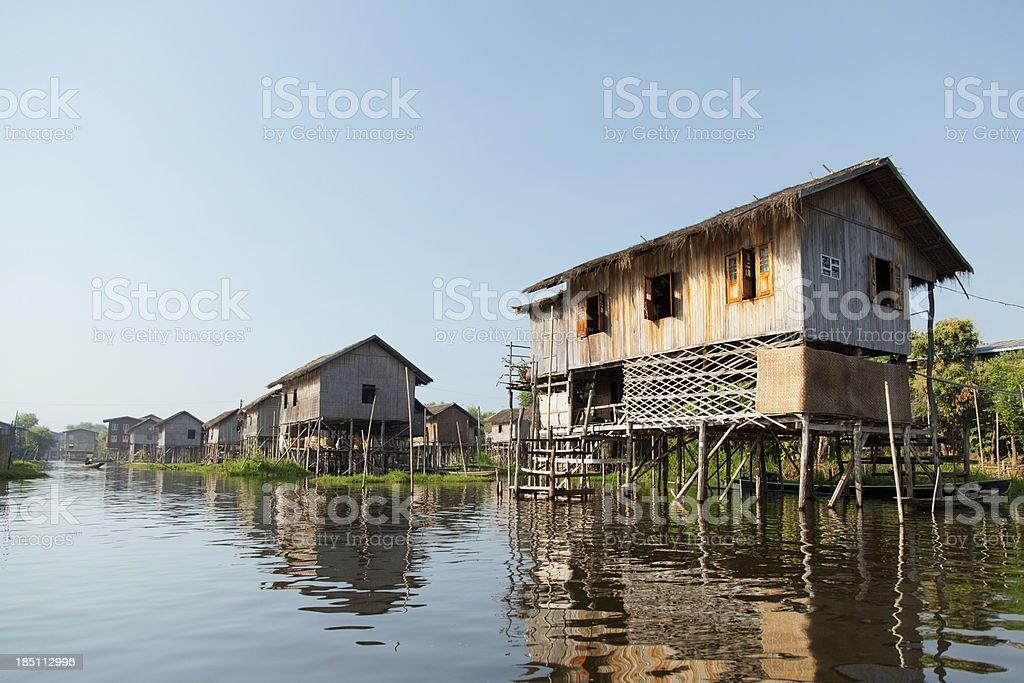 Floating village houses in Inle Lake, Myanmar stock photo