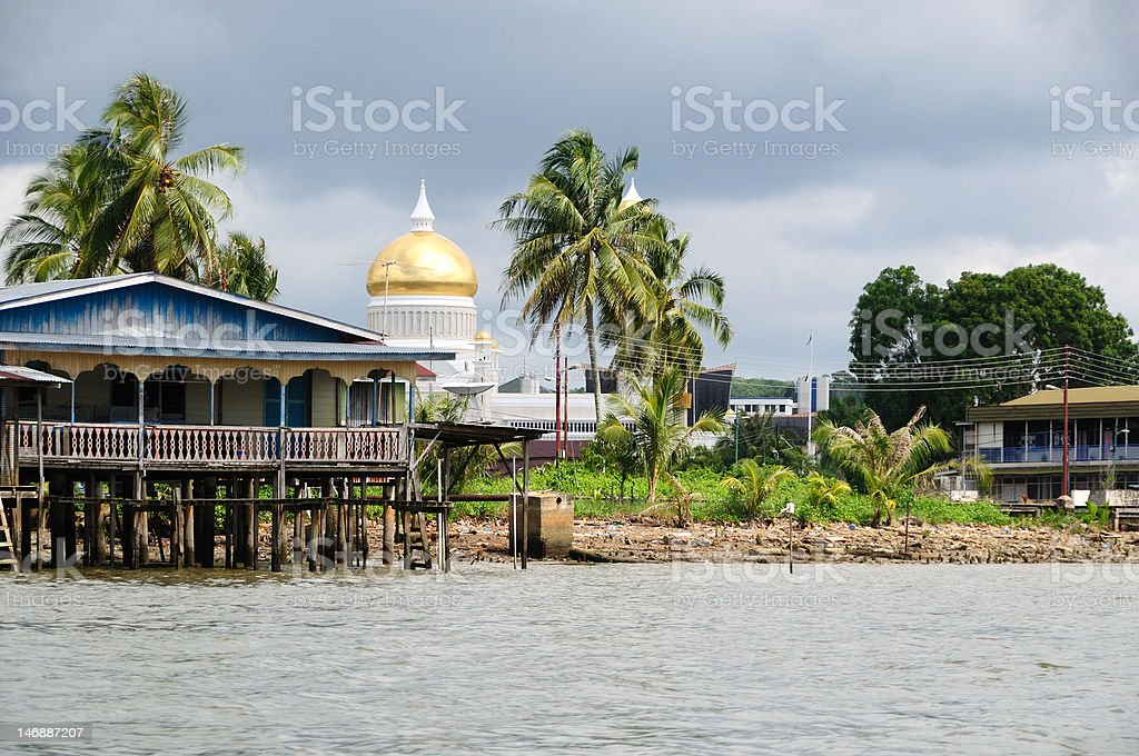 Floating village in Brunei stock photo