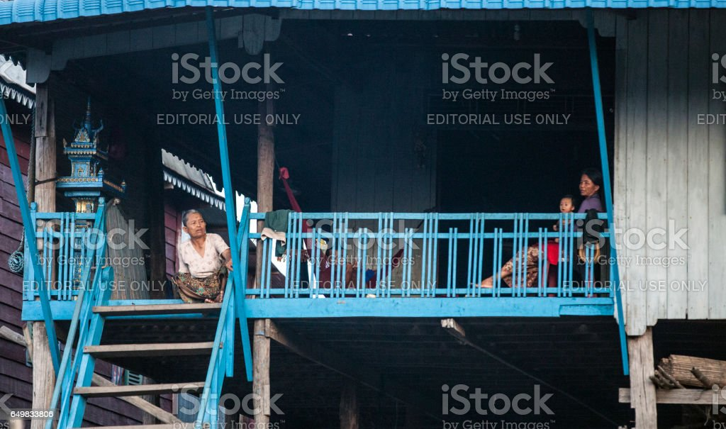 Floating village in Cambodia stock photo