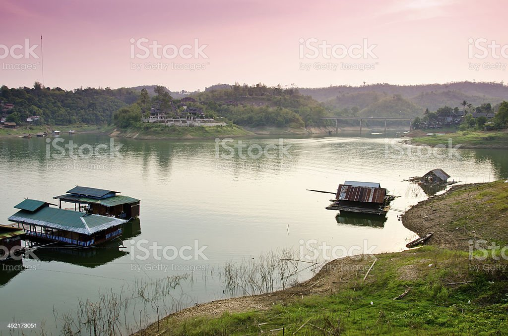 floating village in Kanchanaburi , Thailand stock photo
