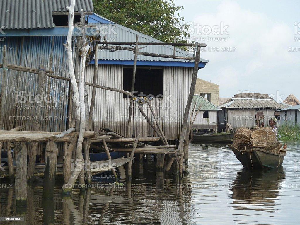 Floating Village of Ganvie in Benin, West Africa stock photo