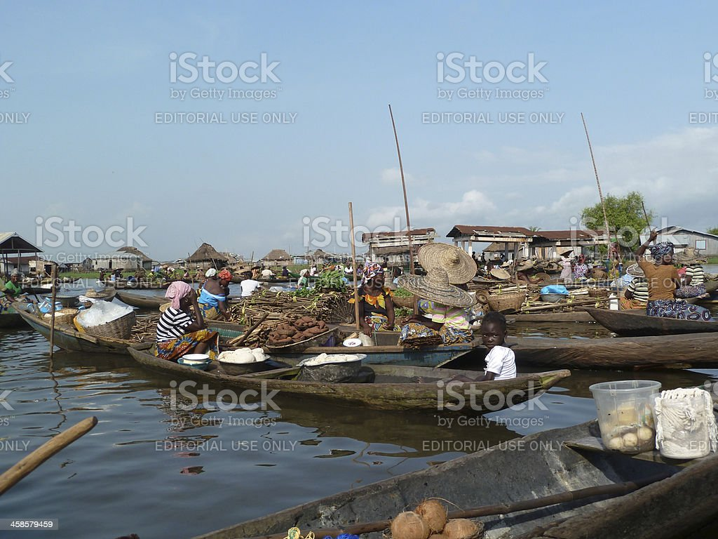 Floating Village of Ganvie in Benin, West Africa stock photo