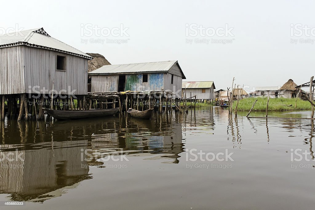 Floating village of Ganvie stock photo