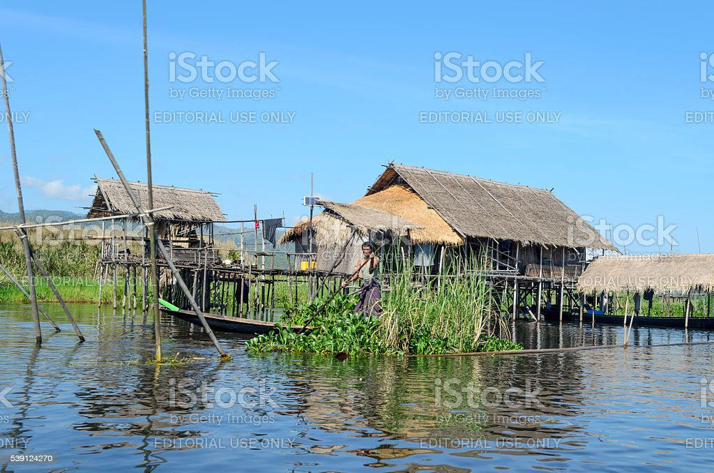Floating village on Inle lake, Myanmar (Burma). stock photo