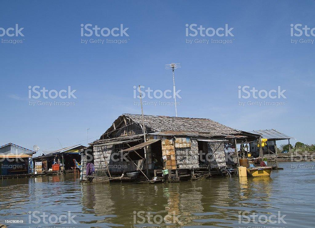 Floating village on Tonle Sap, Cambodia royalty-free stock photo