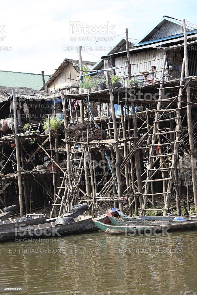 Floating village on Tonle Sap, Cambodia stock photo