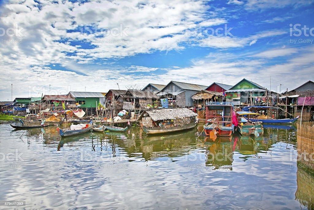 Floating village on Tonle Sap lake. Cambodia. stock photo