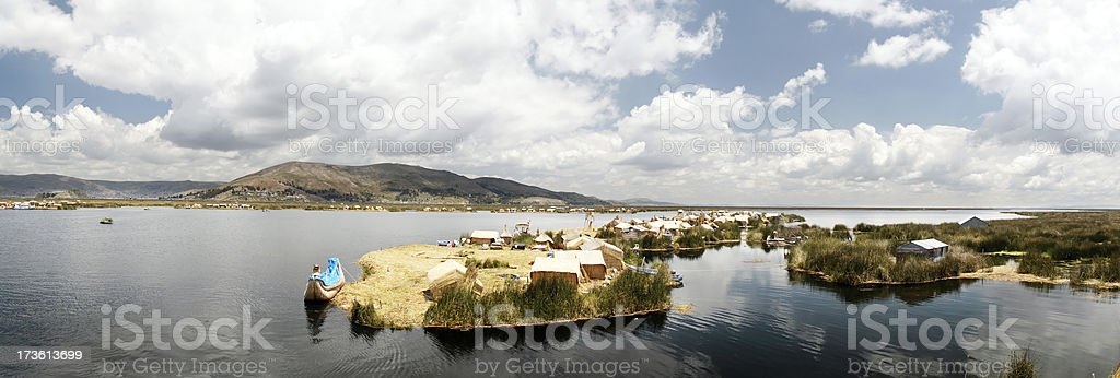Floating villages Lake Titicaca stock photo