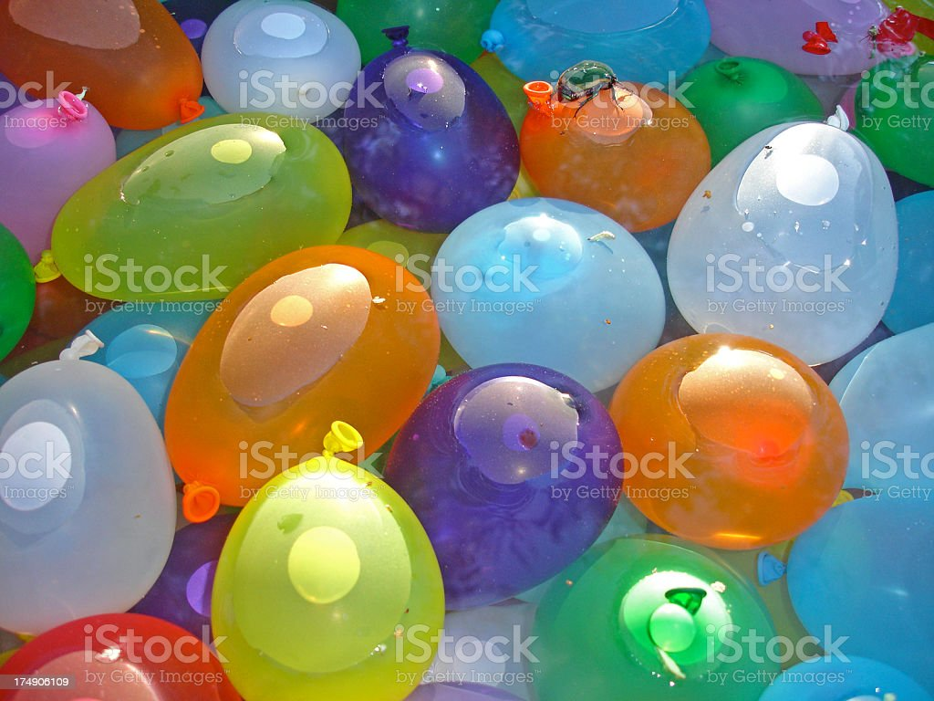 Floating Water Bombs are multicolored stock photo