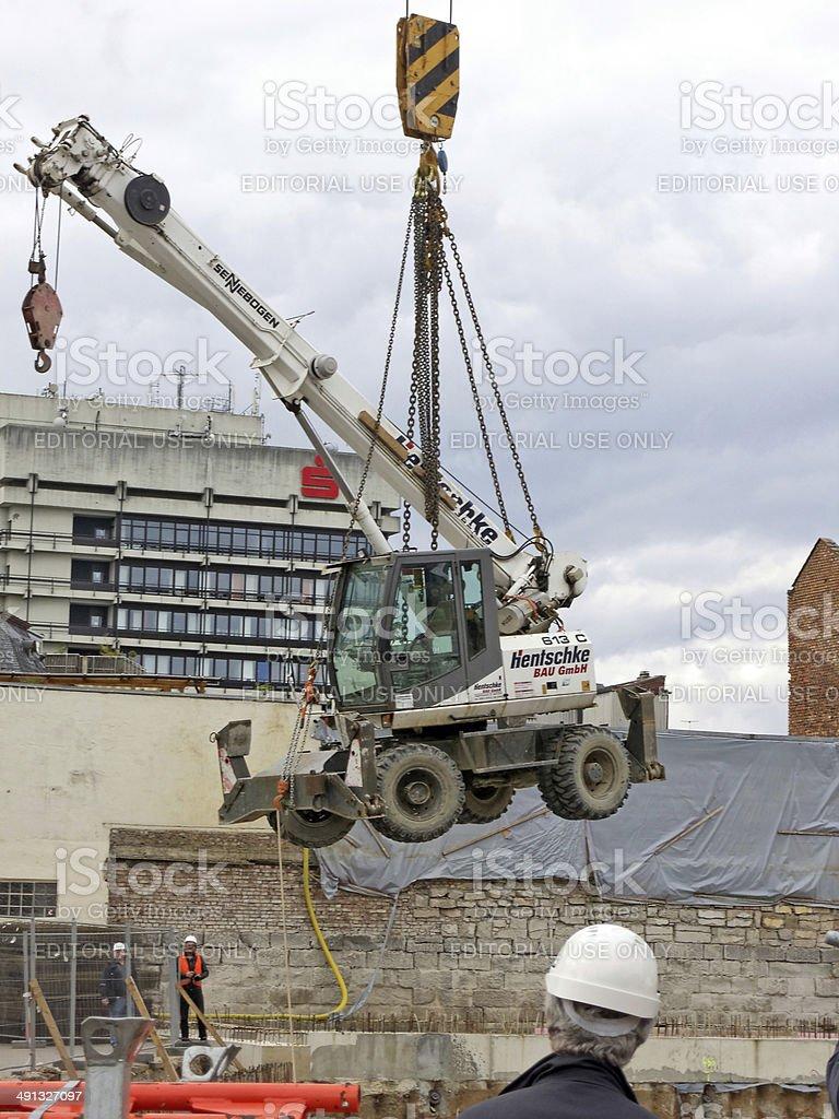 floating wheeled crane stock photo