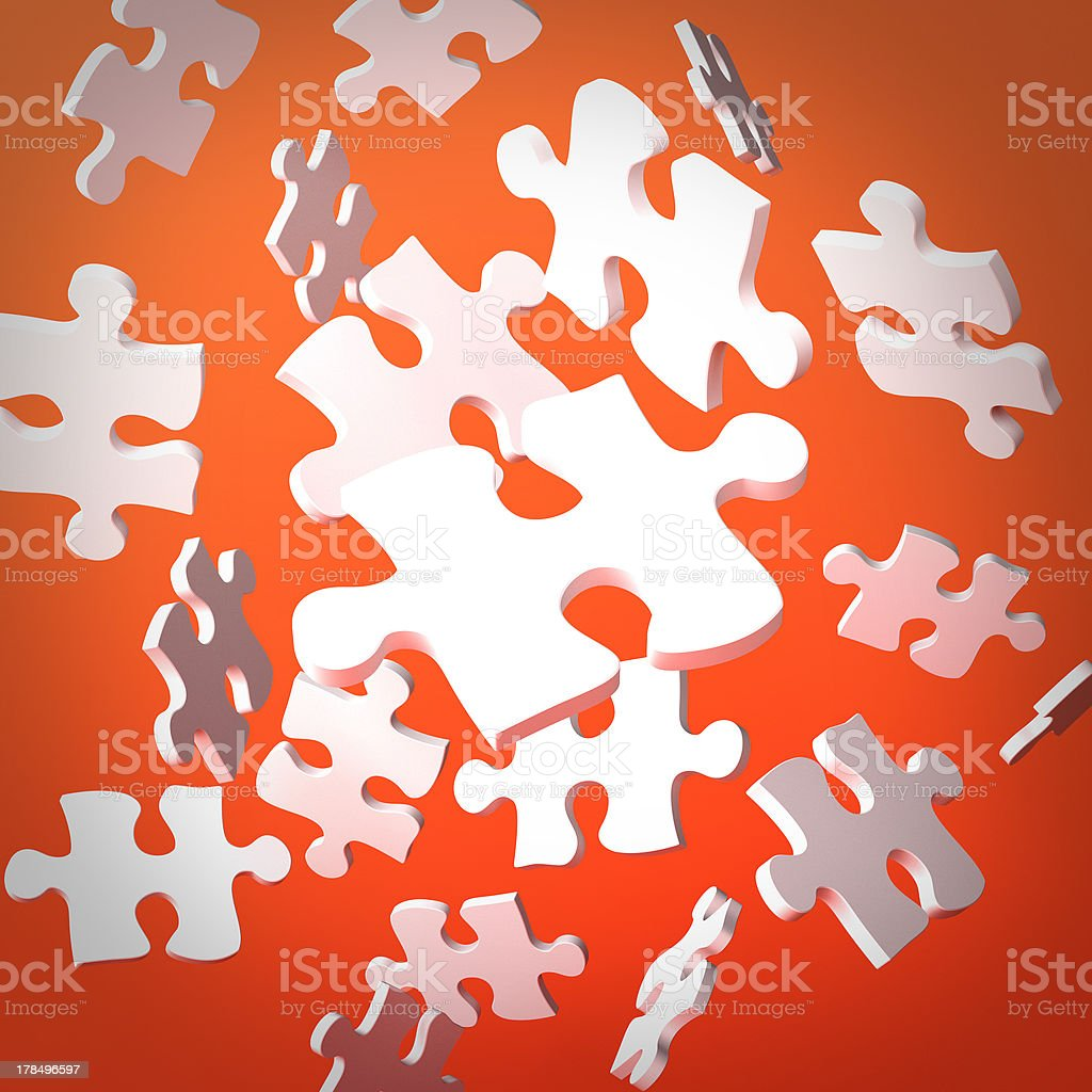 Floating white puzzle pieces royalty-free stock photo